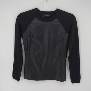 The Kooples Black Leather Front Sweater Sz XS